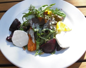Lunchtime offerings at Rancho la Puerta typically include a stellar salad, like this one made with roasted beets and medallions of goat cheese. Yum!