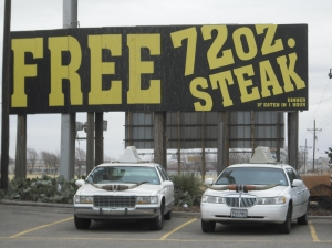The offer of a free mega-steak may seem like an intriguing challenge, but it won't do you any favors, nutritionally speaking.