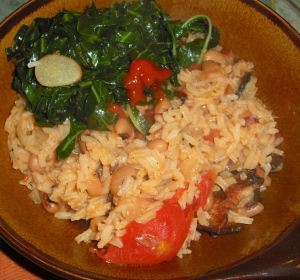 A bowl of Hoppin' John and collard greens is a fine way to start 2009.
