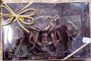 Sexy chocolate: Xocotal's Kama Sutra chocolate, one of their artistic creations that tastes good, too.